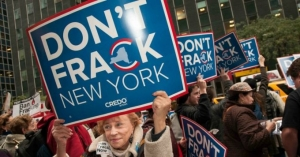 At an anti-fracking rally outside Governor Cuomo's New York office in 2012.