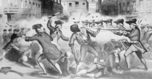 A depiction of the Boston Massacre, which included the murder of Crispus Attucks by British soldiers, by artist William L. Champey, circa 1856. The lithograph, created decades after the Revolutionary War was over, became a symbol for the Abolitionist movement leading up to the Civil War.