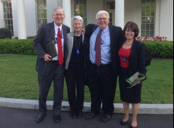 National Committee colleagues Heather Booth, Ernie Powell, Julie Tippens and me this afternoon in front of the West Wing — with Ernie Powell and Julie Tippens.