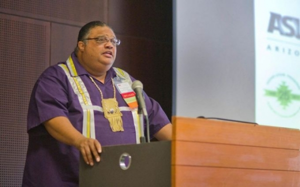 The Rev. John Norwood is the principal justice of the Tribal Supreme Court of the Nanticoke Lenni-Lenape Tribal Nation, which has yet to be recognized by the U.S. government. Here, he speaks at a conference at Arizona State University this week on how to expedite the process.