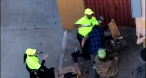 A video uploaded to YouTube shows a Downtown Berkeley Association employee fighting with another man (Screenshot)